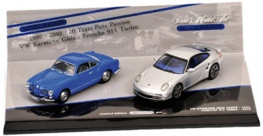 402902010 DOUBLE SET PORSCHE 911 TURBO (997) - 2010 SILVER / VW KARMANN GHIA COUPE - 1955 BLUE - 20 YEARS 1:43