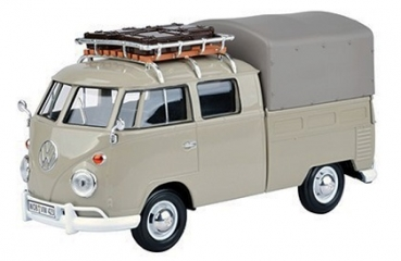 79553 VW T1 PICKUP W/ROOF RACK + SUIT CASE + TARAPAULINE COVER GREY 1:24