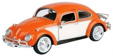 79558 VW KÄFER WITH ROOF LUGGAGE RACK 1966 ORANGE 1:24