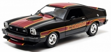 12891 1978 Ford Mustang II Cobra II - Black with Red/Yellow Billboard Stripes 1:18