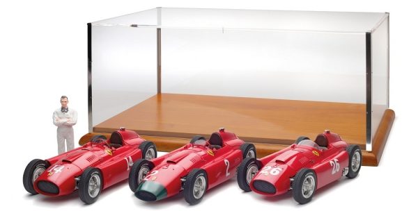 M202 Set Collins: Ferrari D50 short nose GP France #14 Collins + Ferrari D50 long nose GP Germany #2 Collins + Ferrari D50 short nose GP Italy #26 Collins/Fangio + Showcase + Fangio Figurine, Limited Edition 200 pcs. 1:18