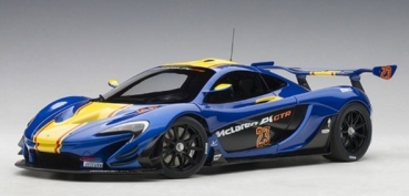 81542 McLAREN P1 GTR (METALLIC BLUE/YELLOW STRIPES) 2015  1:18
