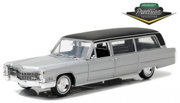 18005  1966 Cadillac S&S Limousine - Silver & Black 1:18