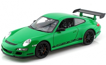 18015GR 2007 Porsche GT3 RS green with black stripes 1:18