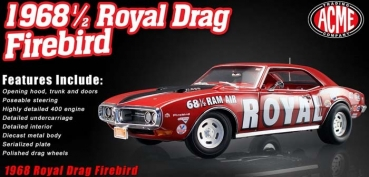 A1805202	1968 1/2 Royal Pontiac Drag Firebird red 1:18